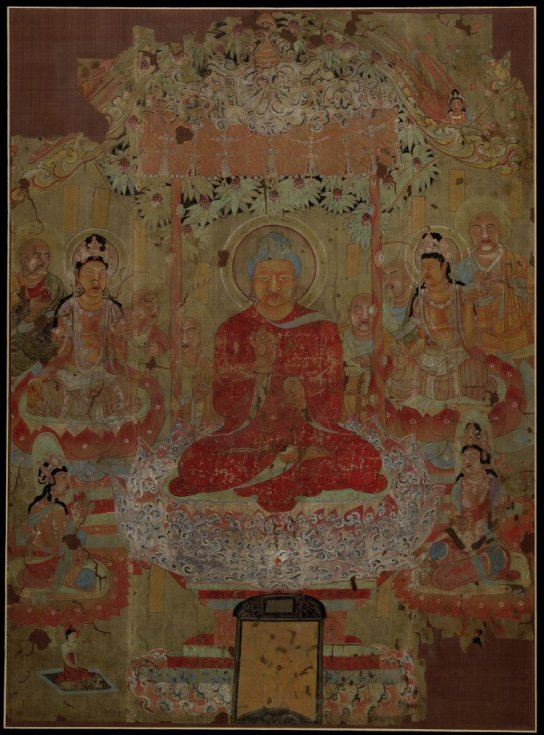 Painting on silk showing Buddha (probably Śākyamuni) preaching in a Paradise composition. From the Caves of the Thousand Buddhas, Dunhuang, Gansu province, China. Tang Dynasty, c. AD 701-750 (1919,0101,0.6)