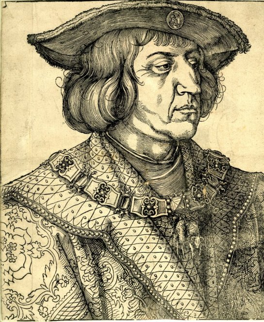 Albrecht Dürer, Portrait of Emperor Maximilian I,  wearing the collar of the Golden Fleece over a brocaded mantle, and a fur-trimmed hat with an oval medallion of the Virgin and Child attached to the brim. Woodcut, 1518.