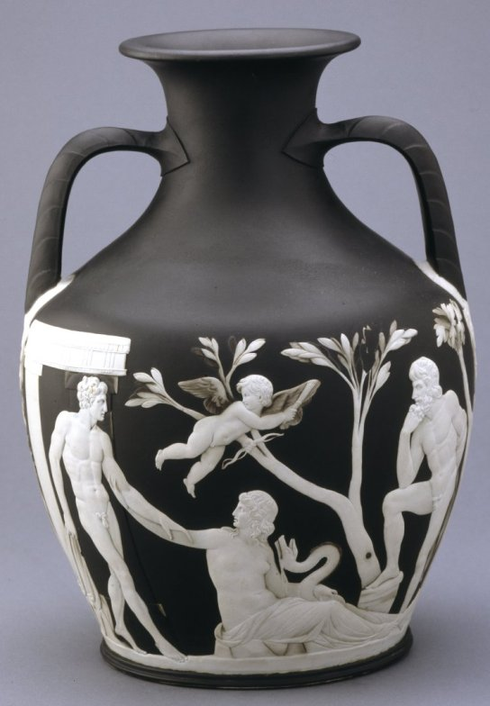 The Portland Vase, jasper ware, a first edition numbered copy, the figures applied in white on a black ground, representing the myth of Peleus and Thetis; (1909,1201.88)