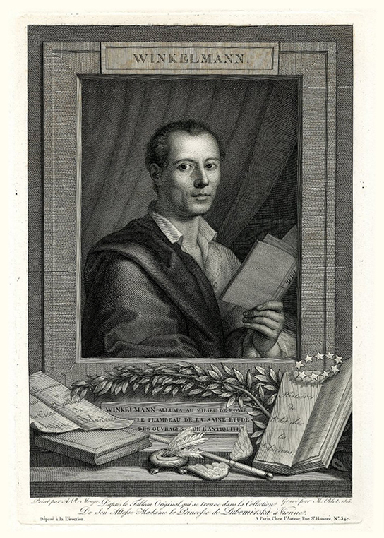 Portrait of Johann Joachim Winckelmann (1717–1768), reading from Homer's Iliad; ornamental frame, as if a framed portrait resting on a ledge on which are placed olive branches, caduceus, inkwell with lion's feet, an open volume of his 'History of Ancient Art' with ring of stars above, and sheet with French titles referring to his writings on the Apollo Belvedere and the Belvedere Torso.  Engraving with etching by Maurice Blot, after Mengs, 1815. (1862,0208.225)