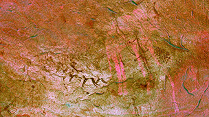 digitally manipulated photograph of African rock art from Tadrat Acacus, Libya