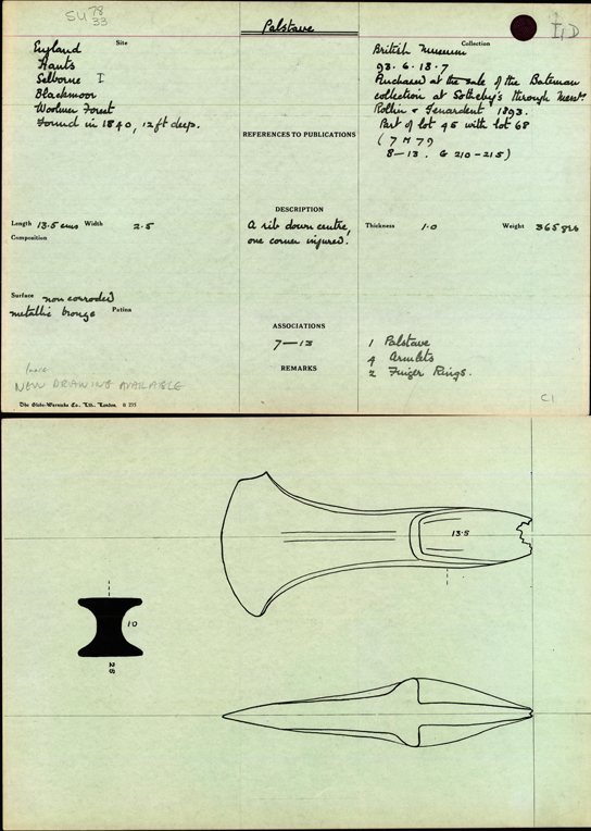 Bronze Age Index card illustrating objects from the Blackmoor Hoard
