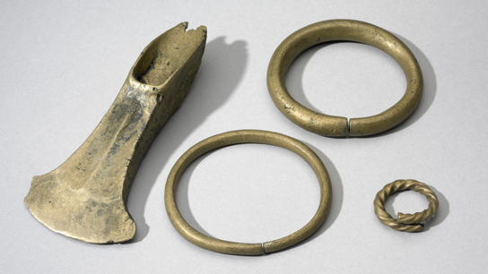Middle Bronze Age hoard from Blackmoor (left to right: 1893,0618,7, 1893,0618.11, 1893,0618.10, 1893,0618.13)