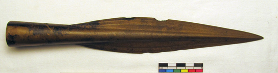 Late Bronze age socketed spearhead. From the Roots Collection (1891,0514.6)