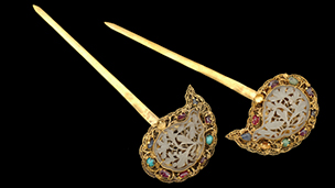 Gold and gem-encrusted hairpins