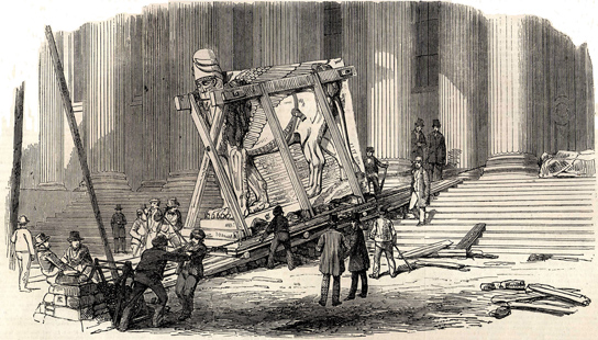 Reception of Nineveh sculptures at the British Museum, The Illustrated London News 1852, p. 184. Etching and engraving.