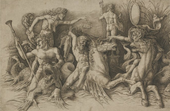 Andrea Mantegna, Battle of the sea gods, engraving on paper, c. 1470-1500, British Museum (V,1.66)