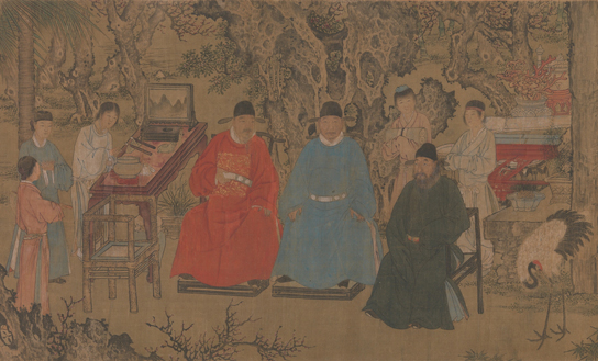 Anonymous, after Zie Huan (1377-1452), 'Elegant gathering in the Apricot Garden' (detail); handscroll, ink and colours on silk, 1437. © Metropolitan Museum of Art, New York, Purchase, The Dillon Fund Gift 1989.