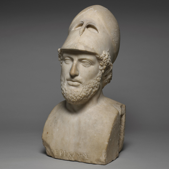 Marble portrait bust of Pericles. Roman copy of a Greek original (British Museum GR 1805.0703.91)