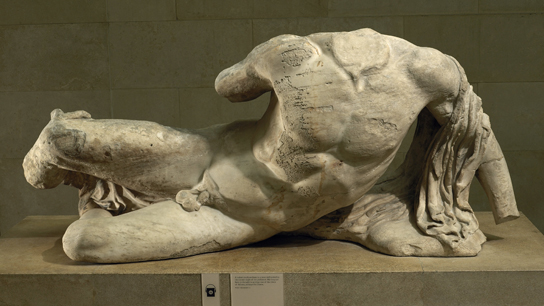 The river-god Ilissos. Marble statue from the West pediment of the Parthenon.