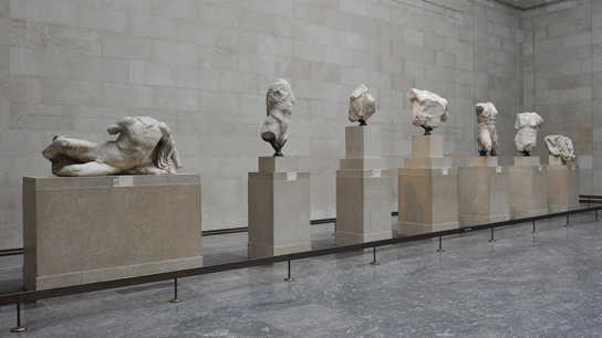Sculptures from the West pediment on display in the Parthenon Galleries (Room 18)