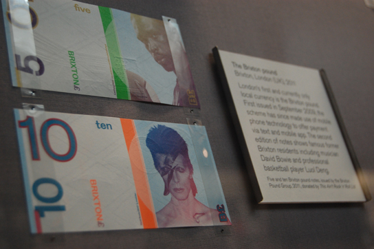David Bowie and Luol Deng on Brixton five and ten pound notes, as displayed in the Citi Money Gallery