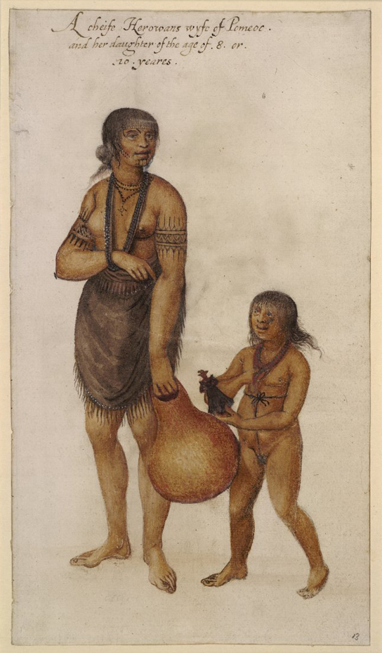 John White, A wife of an Indian 'werowance' or chief of Pomeiooc, and her daughter, who carries a contemporary English doll. Watercolour over graphite, touched with bodycolour, white (altered) and gold (British Museum 1906,0509.1.13)