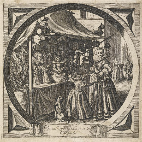 "Mother and child at toy-stall; a woman reaching into her purse and smiling at her daughter, who pulls on her skirts and points to a large doll on the counter of a well-stocked street-stall; engraving after Adriaen van de Venne; illustration of an unspecified edition of Jacob Cats' ""Spiegel vanden Ouden ende Nieuwe Tijd"" (first edition published in The Hague: 1632) (British Museum 1952,0117.14.13)"