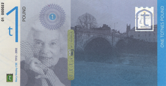 One Totnes pound note showing author Mary Wesley.
