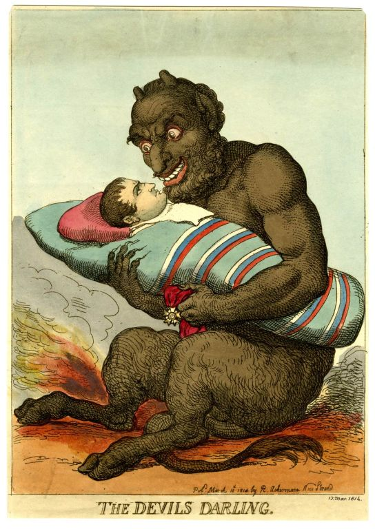 Thomas Rowlandson (1757–1827), The Devil's Darling. Hand-coloured etching, 1814. Published by Rudolph Ackermann, 12 March 1814. 1868,0808.8116