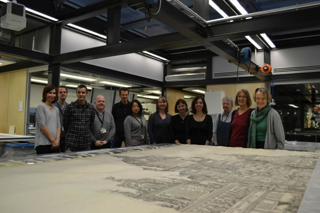 The print laid out in the WCEC Paper Conservation Studio.
