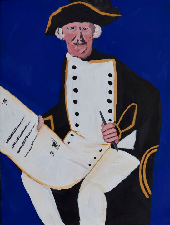 James Cook – with the Declaration by Vincent Namatjira, 2014. Acrylic on canvas, H 1010 mm, W 760 mm, British Museum, London 2014,2007.1
