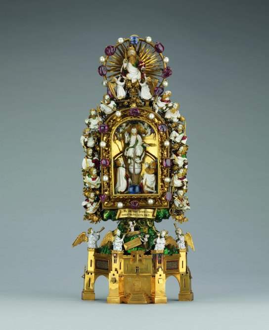 The Holy Thorn Reliquary. One of the most important Christian relics, this precious object of gold, enamel and gems is formed around a humble thorn, supposedly from the Crown of Thorns worn by Christ at his Crucifixion. Made in Paris, around 1400. H. 30.5 cm. British Museum WB.67.