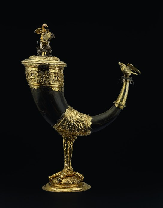 Griffin claw cup of buffalo horn and silver-gilt. Made in Mainz, Germany, mid 16th century. H. 38.8 cm. British Museum WB.102