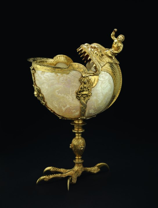 Nautilus shell cup on a silver-gilt claw foot and mounts. Made in Nuremberg, Germany, late 16th century. H. 26.1 cm. British Museum  WB.114