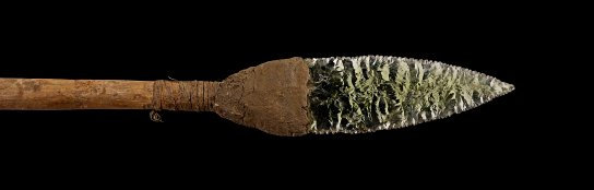 Wooden spear with a point of green glass, acquired by Inspector C.H. Ord. Kimberley region, Western Australia, around 1890s. L. 1.52 m. British Museum, London Oc1899,-461 Donated by C.H. Ord.