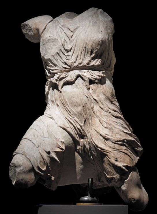 Marble figure of Iris from the west pediment of the Parthenon. Greek (Athens), about 438–432 BC. H. 135 cm. British Museum 1816,0610.96