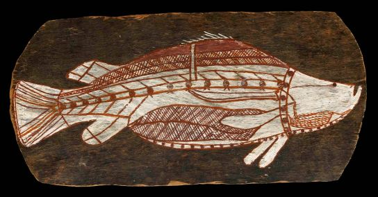 Bark painting of a barramundi, Gunbalanya, about 1961. British Museum Oc1961,02.1
