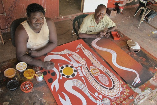 Gabriel Maralngurra and Isaiah Nagurrgurrba are co-managers and founding members of Injalak Arts and Crafts Centre, as well as being widely exhibited artists.