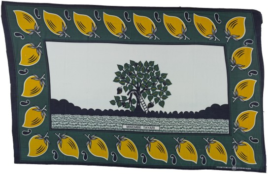 Printed cotton kanga, with inscription which reads 'the mangos are ready'. Tanzania, 2003. 106 x 166 cm. British Museum Af2003,21.4.