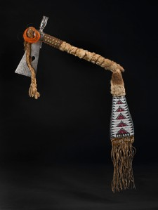 Ceremonial Kainai tomahawk from the Deane-Freeman collection, c.1900, 93 x 37 cm. British Museum Am1903,-.82