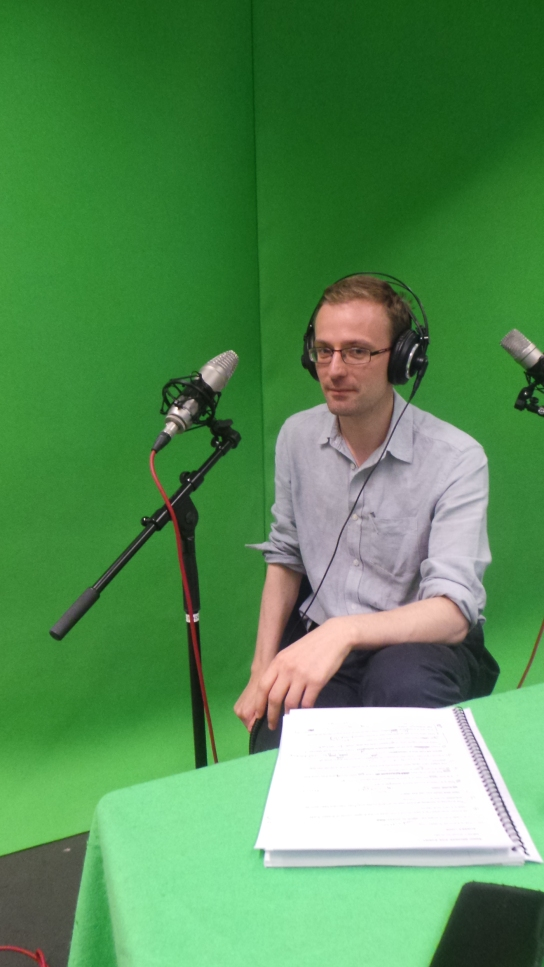 Dr Neil Wilkin recording audio for the virtual reality experience. (Photo: Lizzie Edwards)