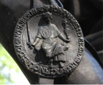 Close up of the seal of King John from the Fox sculpture. (Photo: Lloyd DeBeer)