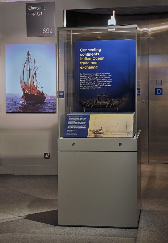 Clove boat model on display at the temporary exhibition Connecting continents: Indian Ocean trade and exchange curated by Dr Sarah Longair, open from November 2014 to May 2015. (Photo: David Agar, British Museum)