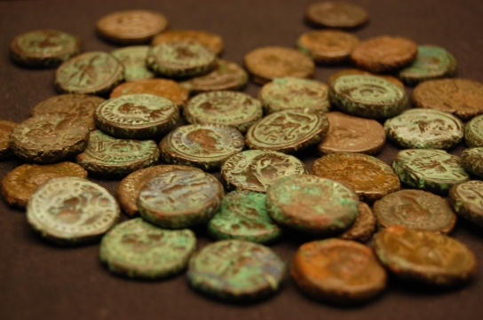 Image of the Fetter Lane hoard at the British Museum. (Photo: Ben Alsop)