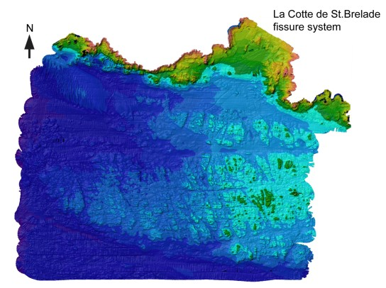 Bathymetric survey of the seabed surrounding La Cotte de St Brelade, up to 5 km offshore. The immediate landscape is broken up into valleys and cut-offs – La Cotte itself provides a commanding view over this landscape. (Image: Richard Bates)