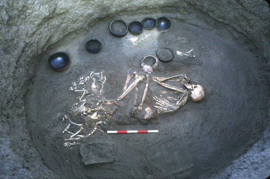 Kerma Moyen period burial containing sacrificed goats/sheep and ceramic grave goods (Northern Dongola Reach Site P37) (Photo © SARS Archive.)