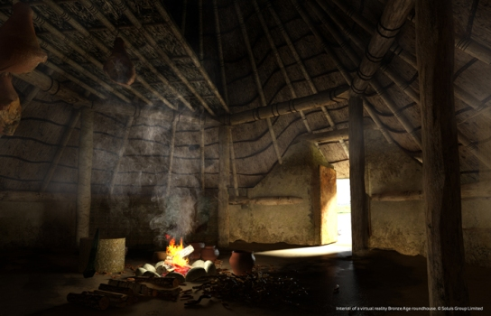 Interior of virtual reality Bronze Age roundhouse. (© Soluis Group Limited)