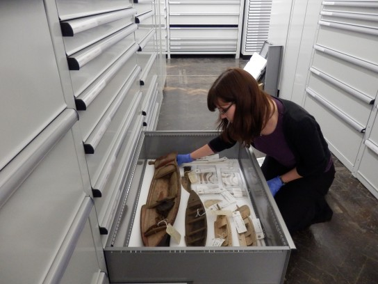 Researching other model boats in the stores at the British Museum. (Photo: Imogen Laing, British Museum)