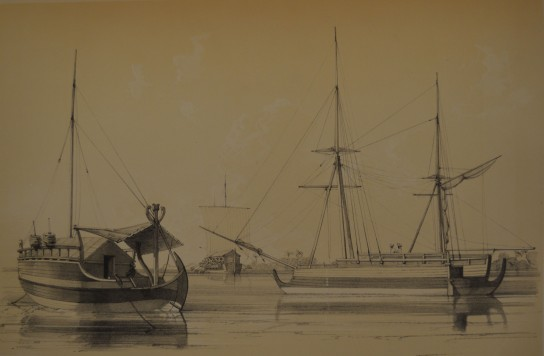 Image of Indonesian boats, including a kora kora being paddled in the centre from Edmond Paris Essai sur la construction navale des peuples extra-européens, 1845.