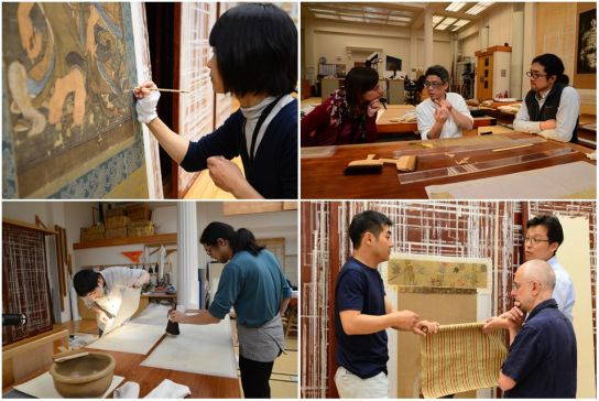 Conservators from the Association for Conservation of National Treasures working in the Hirayama Studio (clockwise from top left: Aya One inpainting; BM textile conservator Anna Harrison discussing treatments with Masanobu Yamazaki and Keisuke Sugiyama; Iwataro-Yasuhiro Oka, Tim Clark (Curator of Japanese Collections) and Makoto Kajitani selecting mount silks; Keisuke and Jun Imada lining a handscroll)