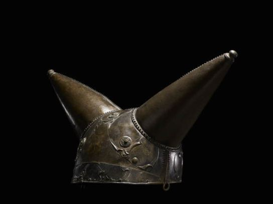 Horned helmet. Bronze, glass, c.150–50 BC. Found near Waterloo, along the River Thames, London. W. (between horns) 42.5 cm. British Museum 1988,1004.1