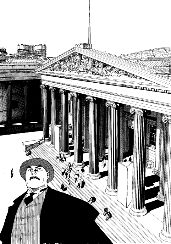 An illustration from 'Professor Munakata's British Museum Adventure'.