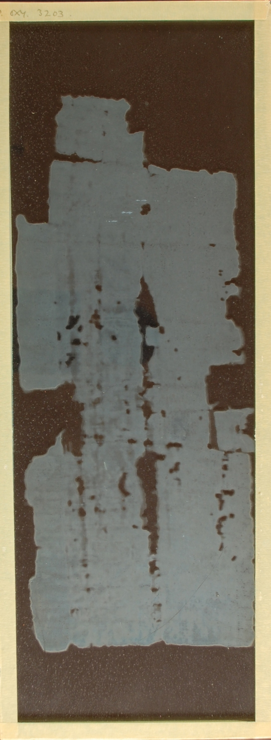 2. With the papyrus removed, the density of the salt bloom on the glass is visible