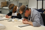 Conservators Caroline Barry and Harry Metcalf: hard at work